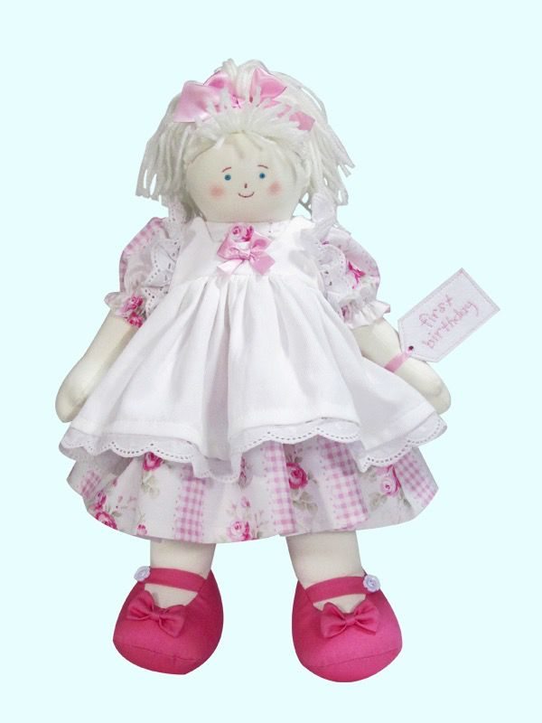 Australia 1st Birthday 41cm Rag Doll Rose Ticking - Blond