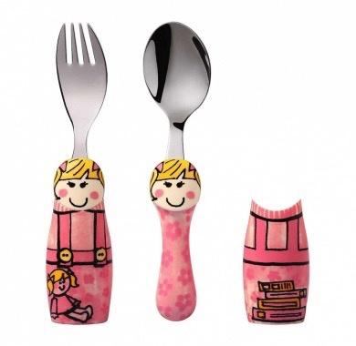 Europe EAT4FUN Duo Pink Girl Cutlery Gift Set