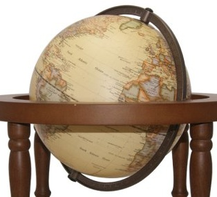 Australia 15 cm Embossed globe gimbal arm on 4 post wooden stand with LED