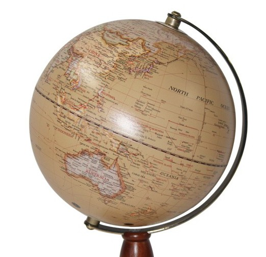 Australia 20 cm Antique ocean globe ball with metal arm on wood base