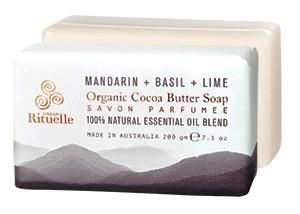 Australia EQ 200gm Organic Cocoa Soap Basil Mandarin & Lime
