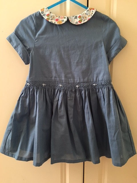 Australia Camellia Dress - Denim w/ Libery Teal Collar 36m
