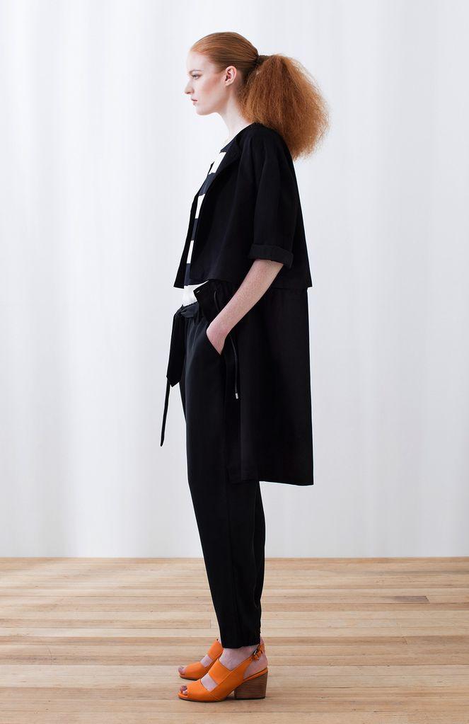 Australia S/M Blk Linen Two Piece Jacket