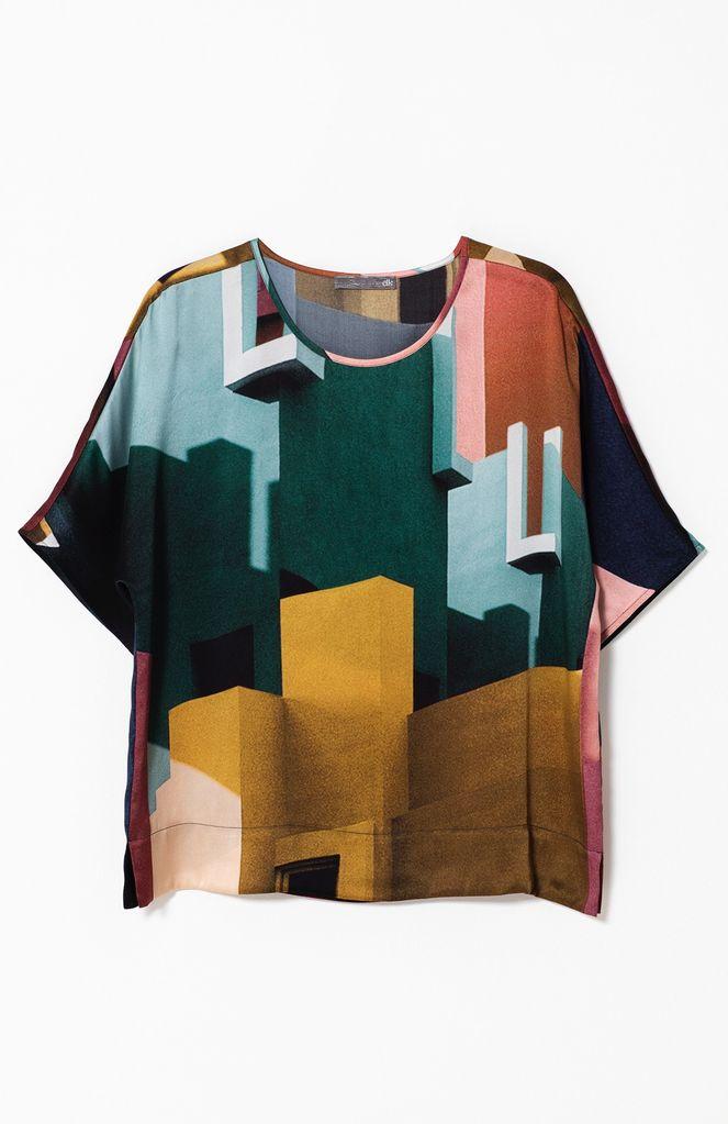 Australia M Multi DPrint Muralla Silk Top