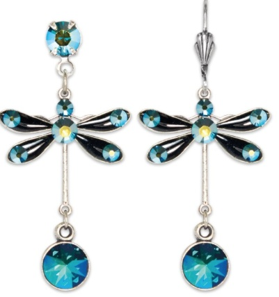USA Silver Enameled Dragonfly Earrings with Emerald Drop
