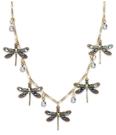 USA Bronze Plated Multicolored Dragonfly Dream Necklace