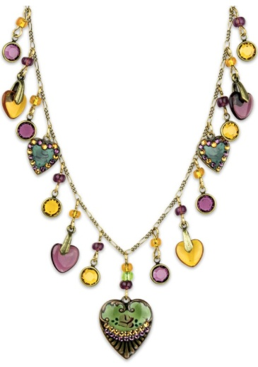 USA Brass Heart & Round Droplet Charm Necklace