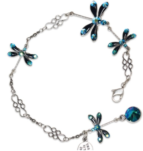USA Silver Stacked Dragonfly Emerald Bracelet