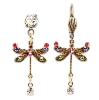 USA Brass Multicolor Dragonfly Earrings with Drop