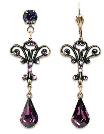 USA Brass Ornate Amethyst Teardrop Earrings