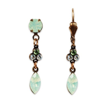 USA Brass Light Green Opal with Marquise Drop Earrings