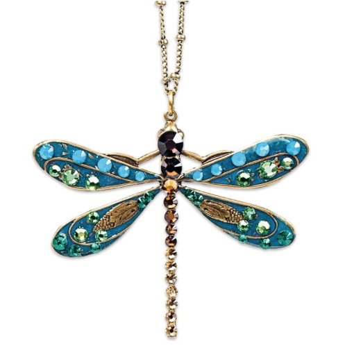 USA Brass Enameled & Multicolor Crystal Butterfly Necklace