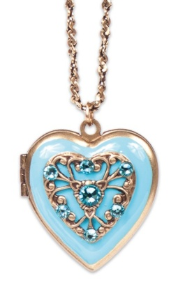 USA Brass Heart Locket in Light Turquoise
