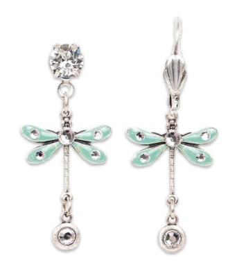 USA Silver Aqua Dragonfly Earrings with Crystals
