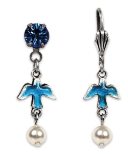 USA Silver Enameled Blue Bird Earrings with Pearl Droplet