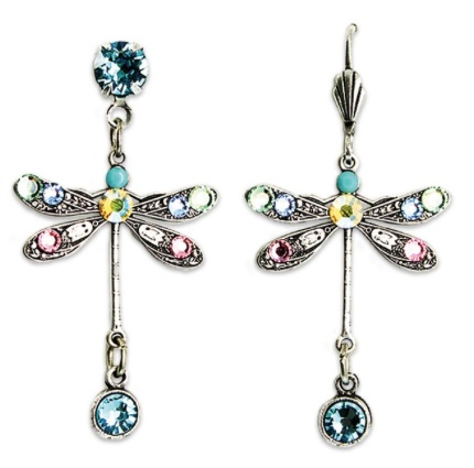 USA Silver Small Dragonfly Earrings with Multicolor Pastel Crystals