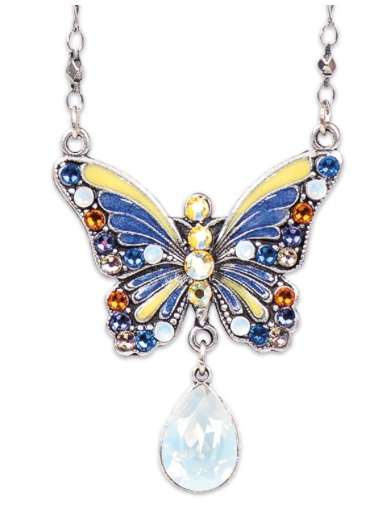 USA Silver Enameled & Crystalized Butterfly Necklace with White Opal Drop