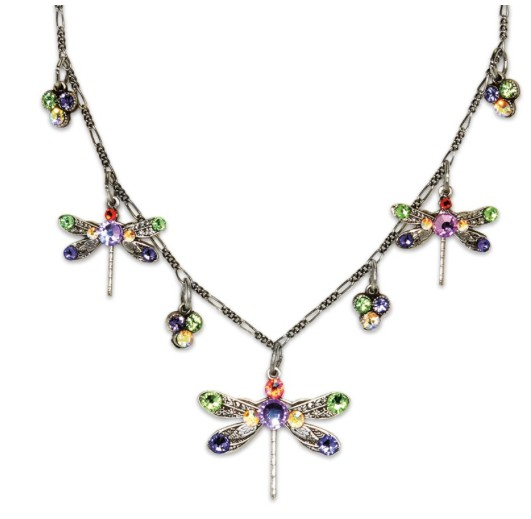 USA Silver Plated Multicolored Lucky Dragonfly Necklace