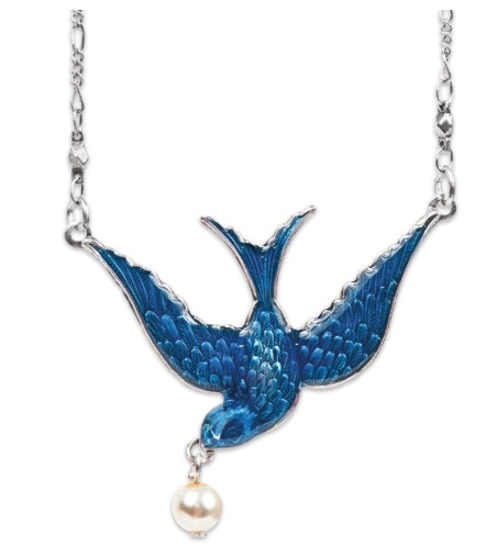 USA Silver Enameled Bird with Pearl Necklace