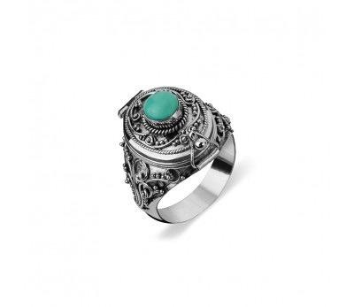 Australia Sterling Silver Tribal Locket Ring Turquoise