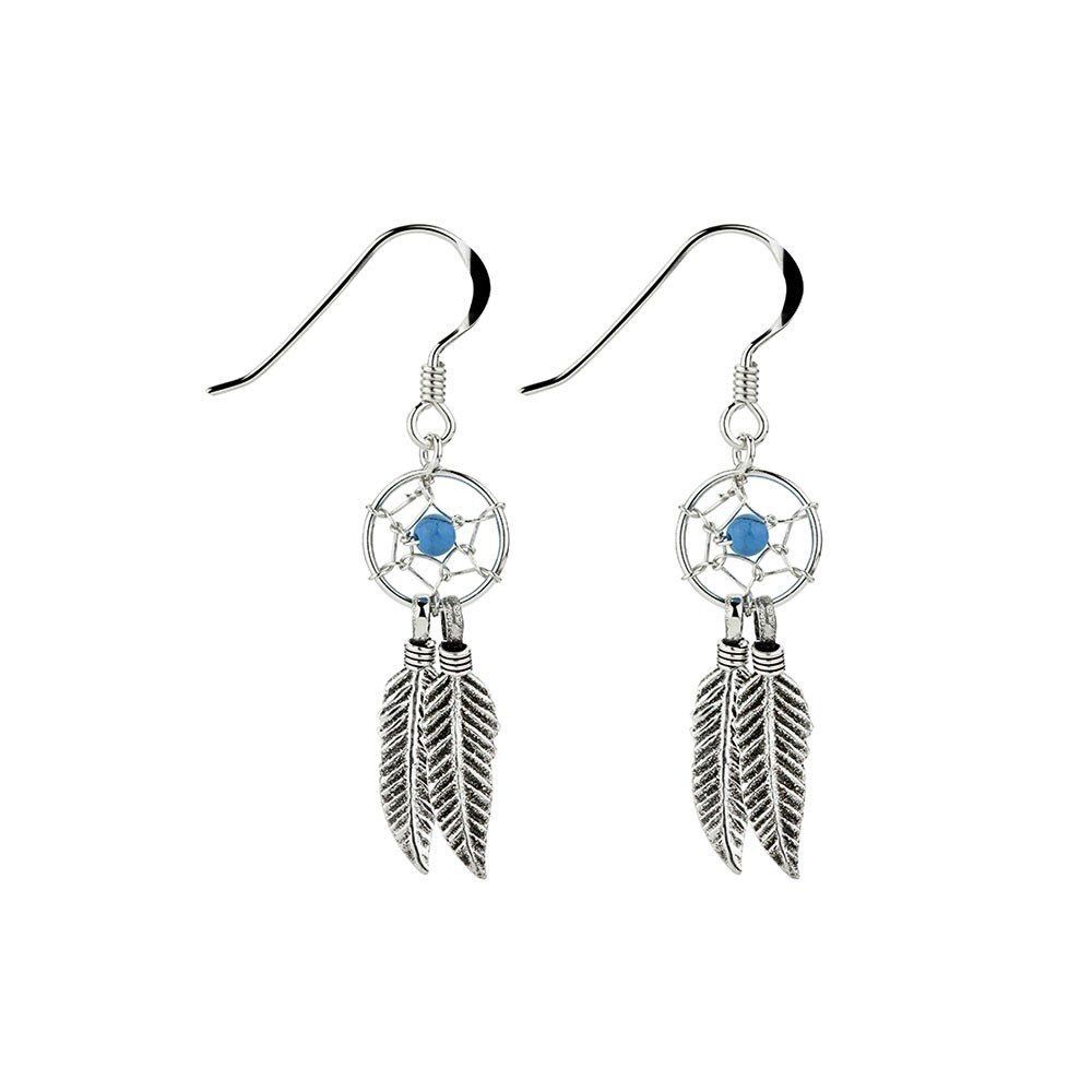 Australia Sterling Silver Dream Catcher earrings with turquoise stone