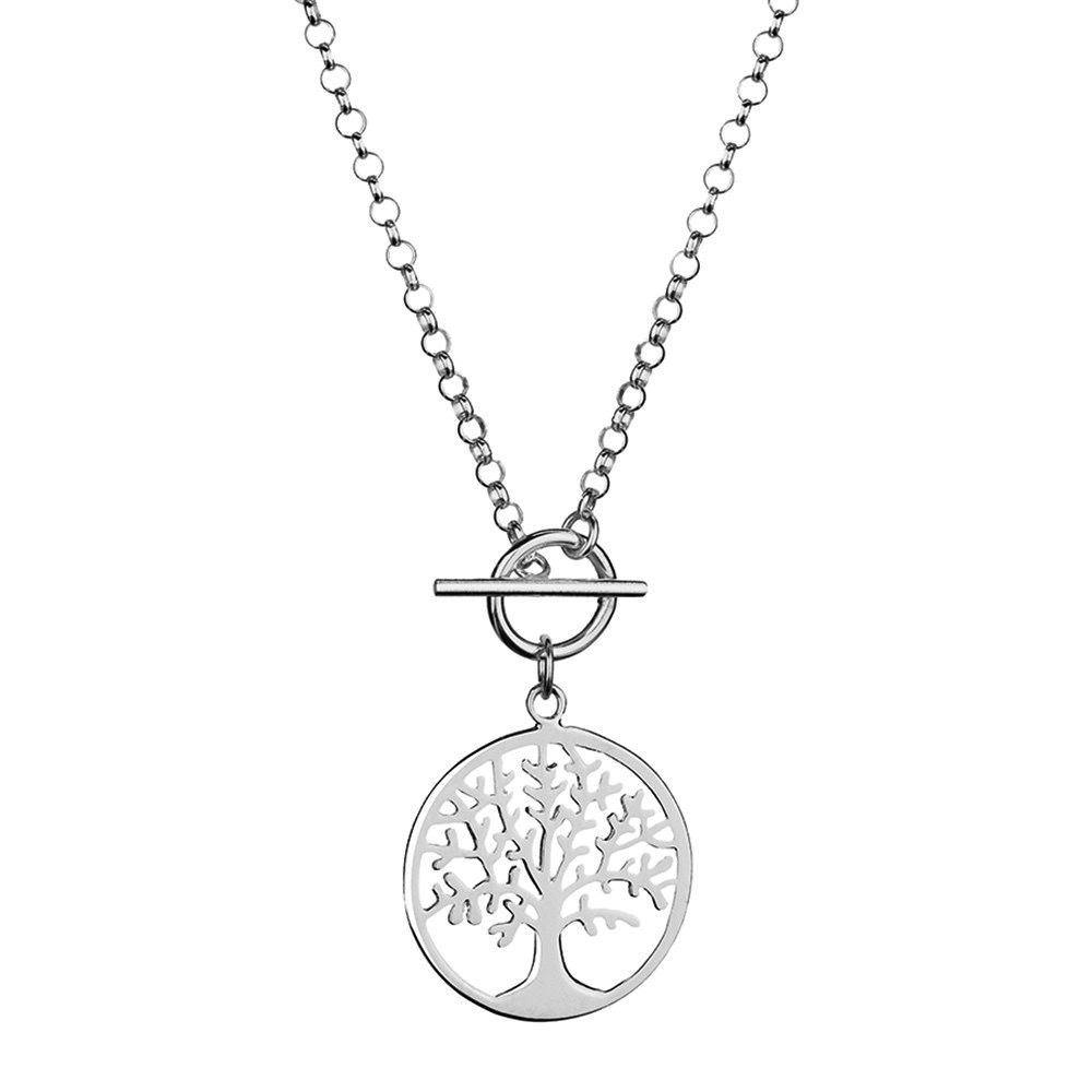 Australia Sterling Silver Bar through Tree of Life pendant necklace