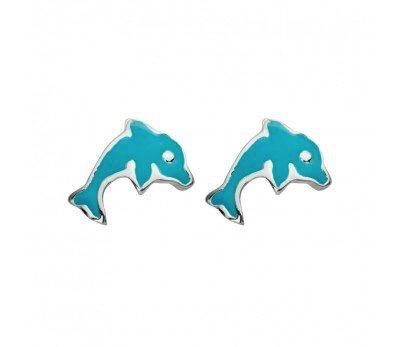 Australia Sterling Silver Blue Dolphin Stud Earrings