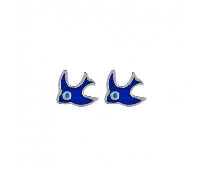 Australia Sterling Silver Blue Bird Stud Earrings