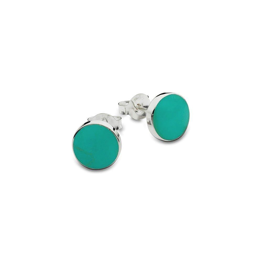 Australia Sterling Silver Flat Turquoise Stud Earrings