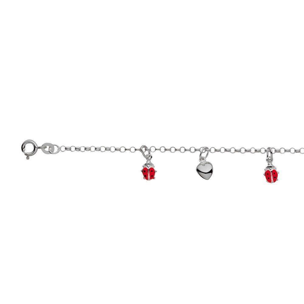 Australia Sterling Silver Children's Ladybird/Heart bracelet