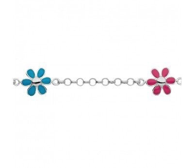 Australia Sterling Silver Flower Charm Bracelet