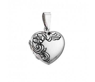 Australia Sterling Silver engraved heart locket Necklace