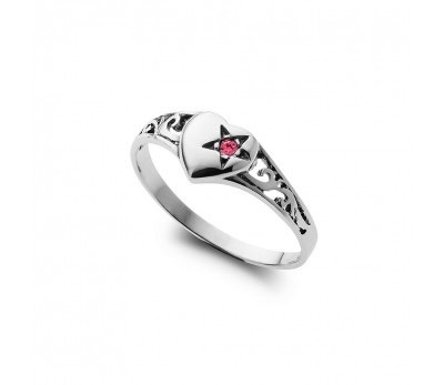 Australia Sterling Silver signet heart ring with pink crystal