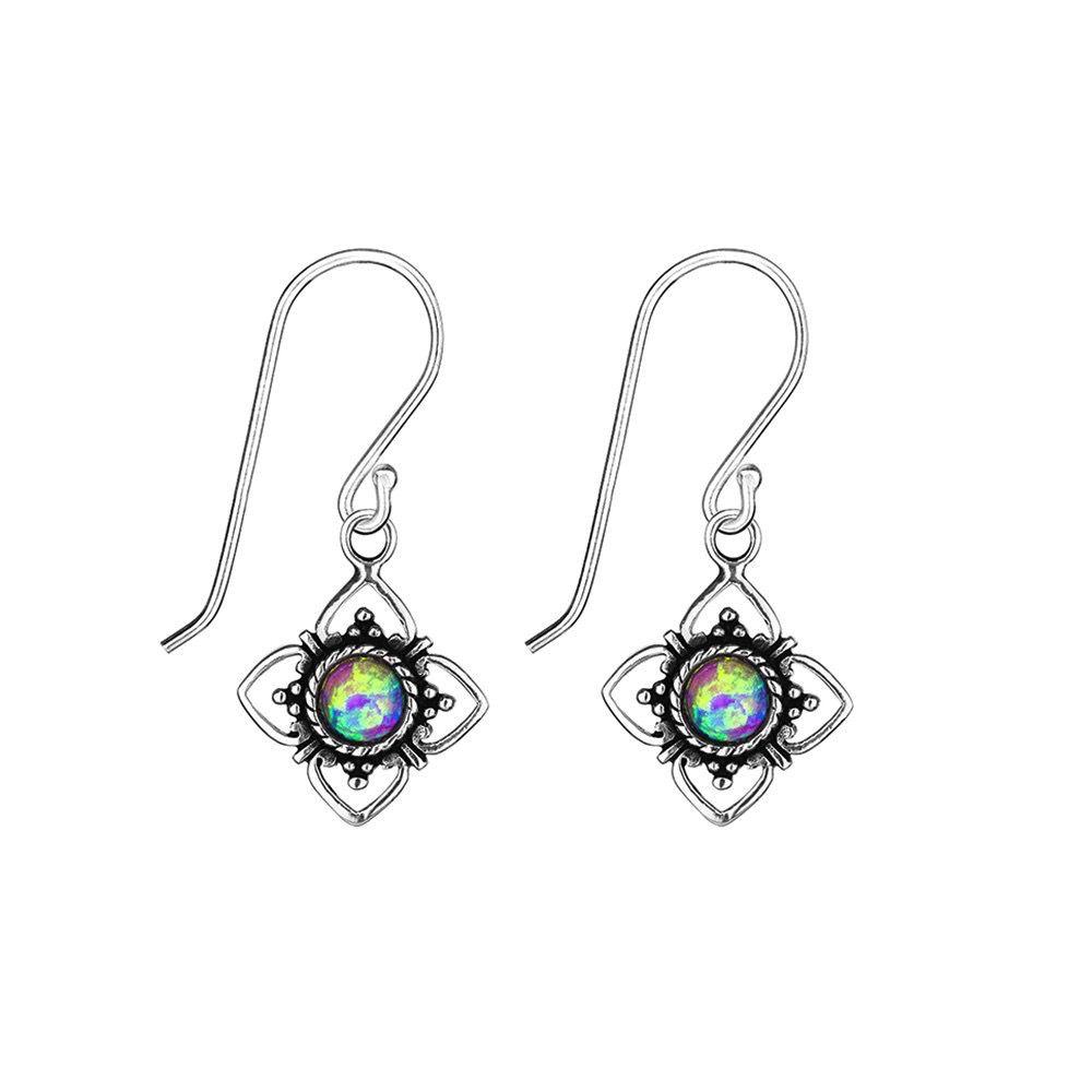 Australia Sterling Silver Flower Earrings with Opal