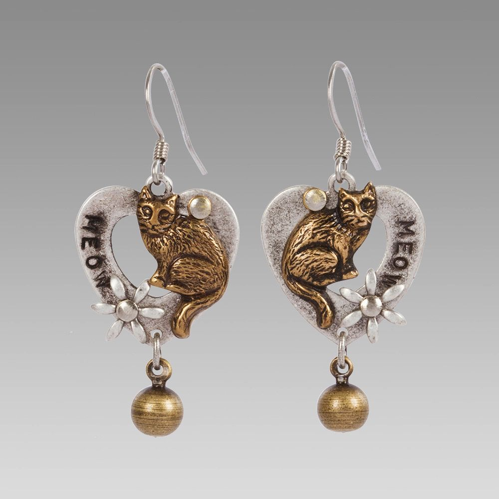 USA Kitty on Heart Earrings