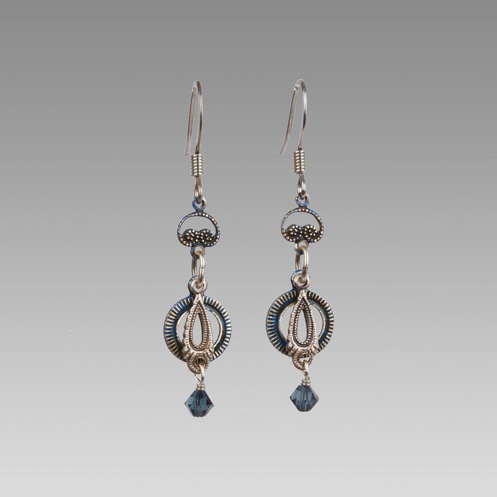 USA Blue Drop Earrings