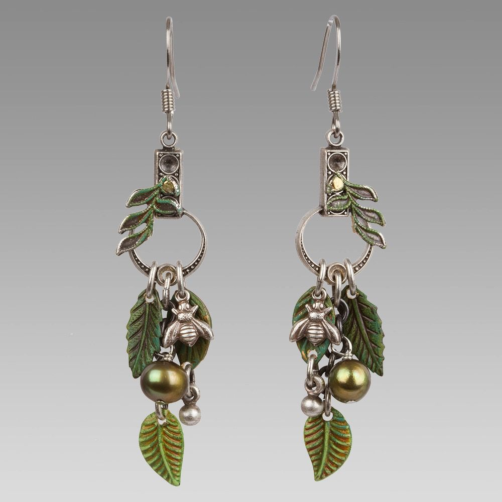 USA Green Leaf Earrings