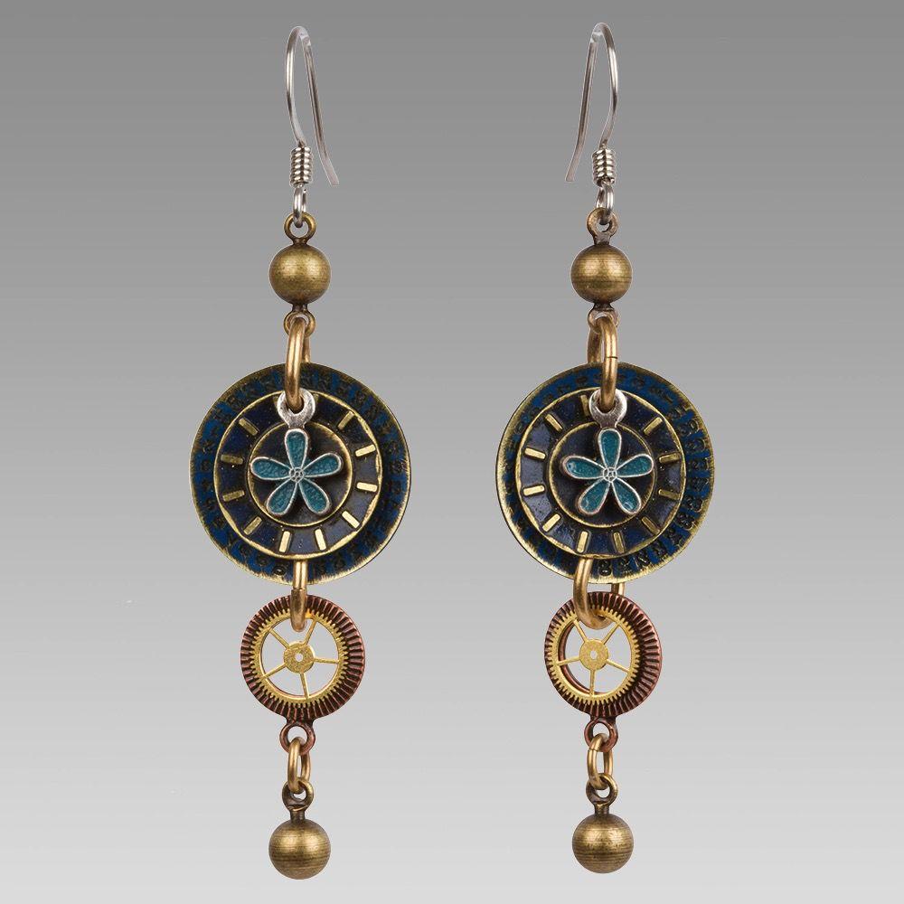 USA Blue/Gold Drop Earrings