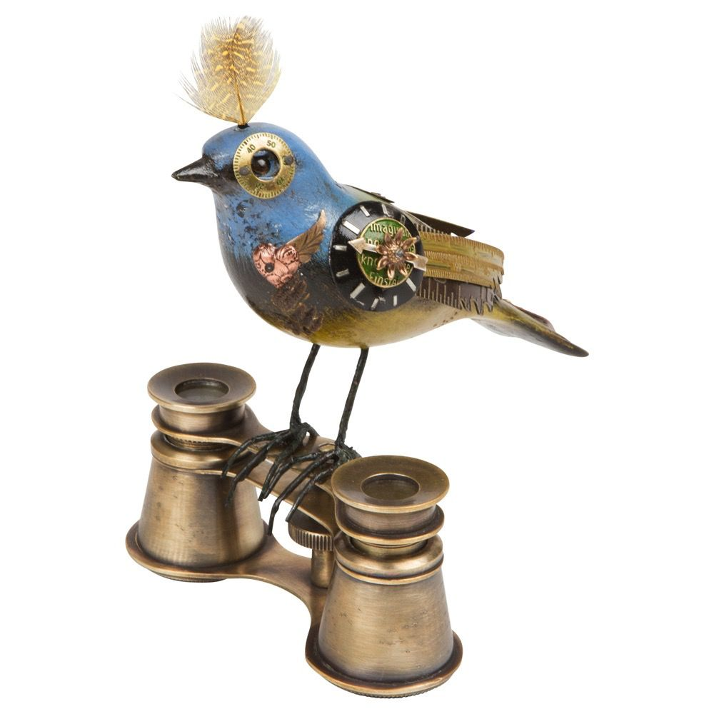 USA Gr/Pur/Blue Bird on binocular - Steampunk ornament