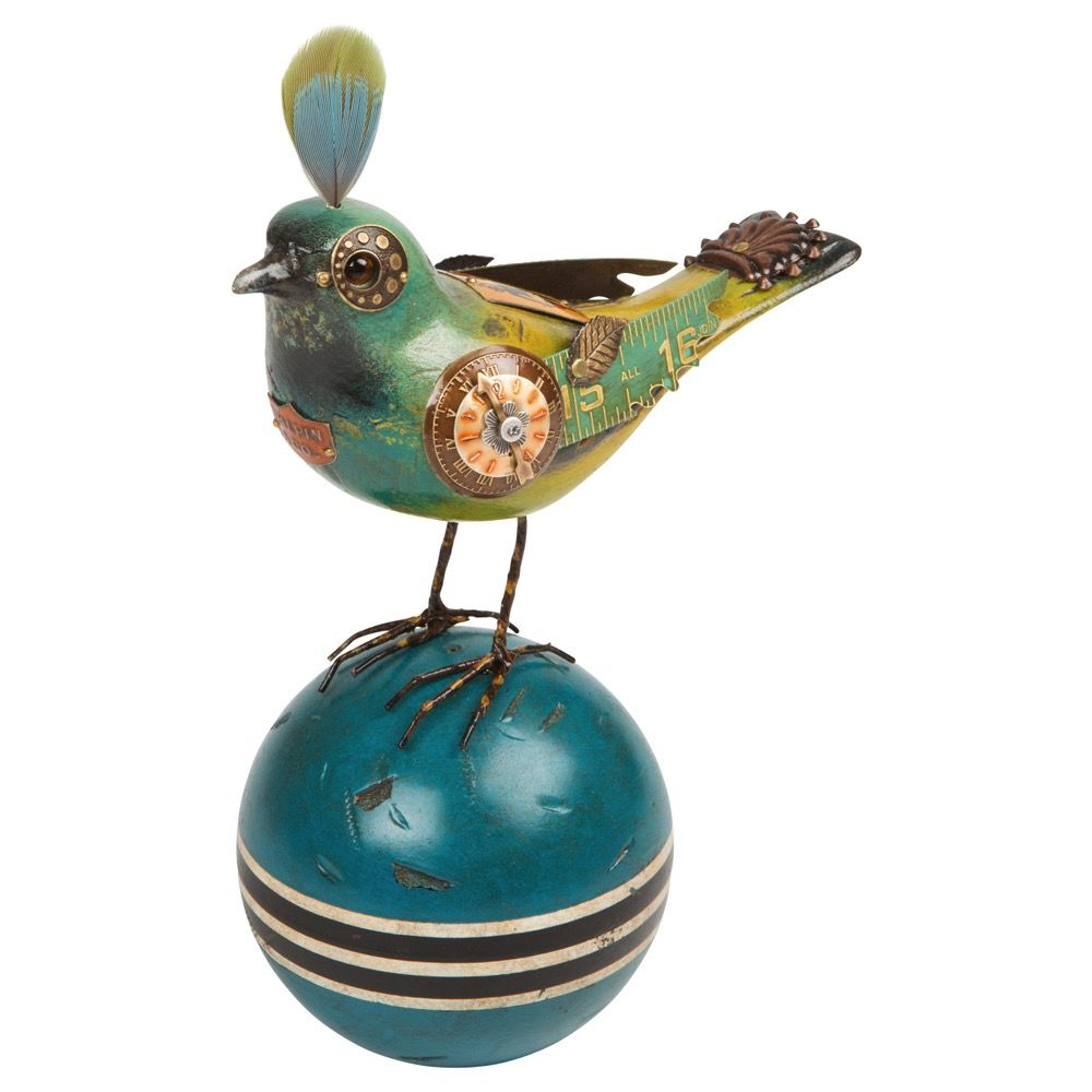 USA Teal Bird on Ball - Steampunk ornament