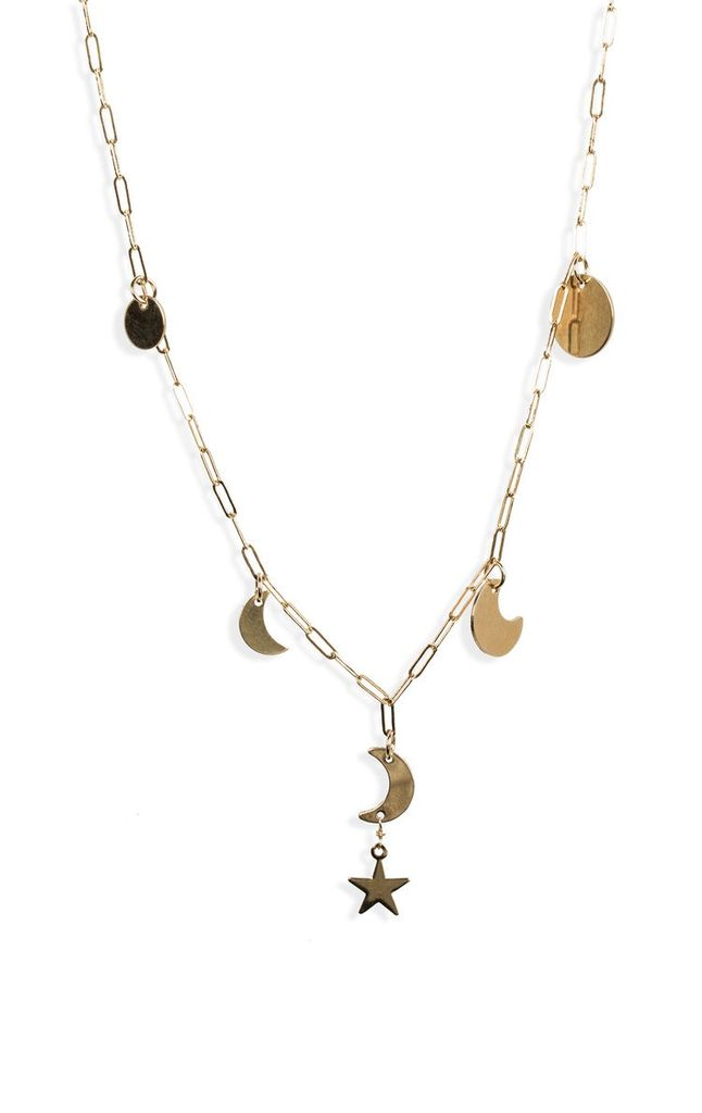 USA Long Moon Phase Necklace - Silver