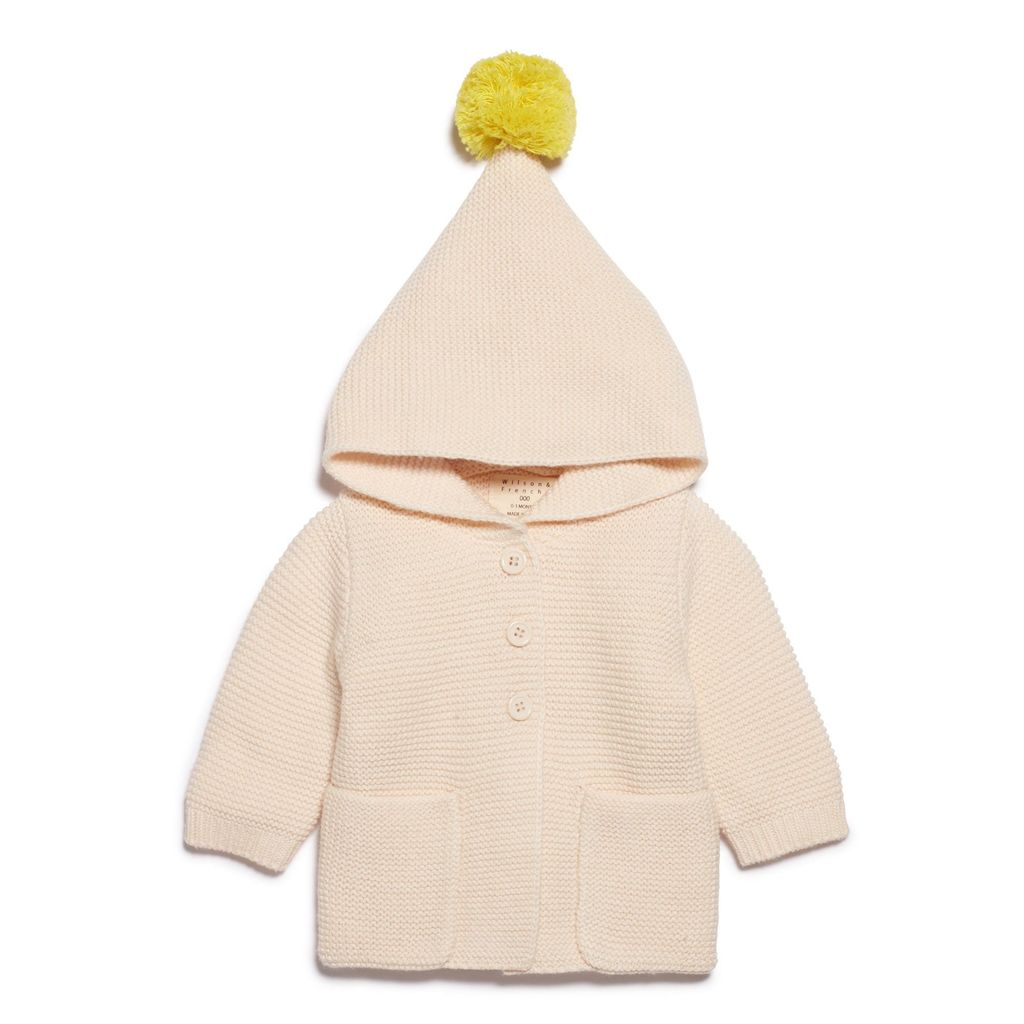 Australia OATMEAL KNITTED JACKET WITH HOOD - 6-12 months