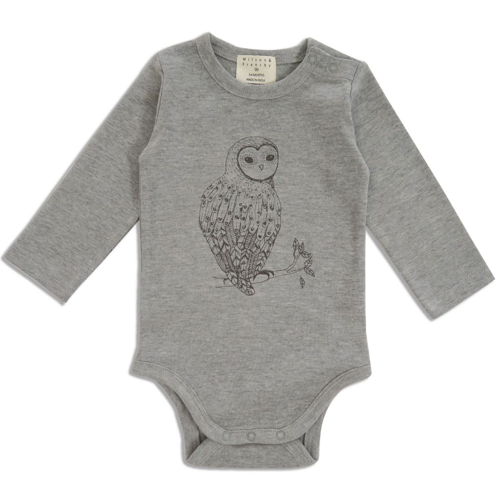 Australia LITTLE OWL LONG SLEEVE BODYSUIT -1-3 months