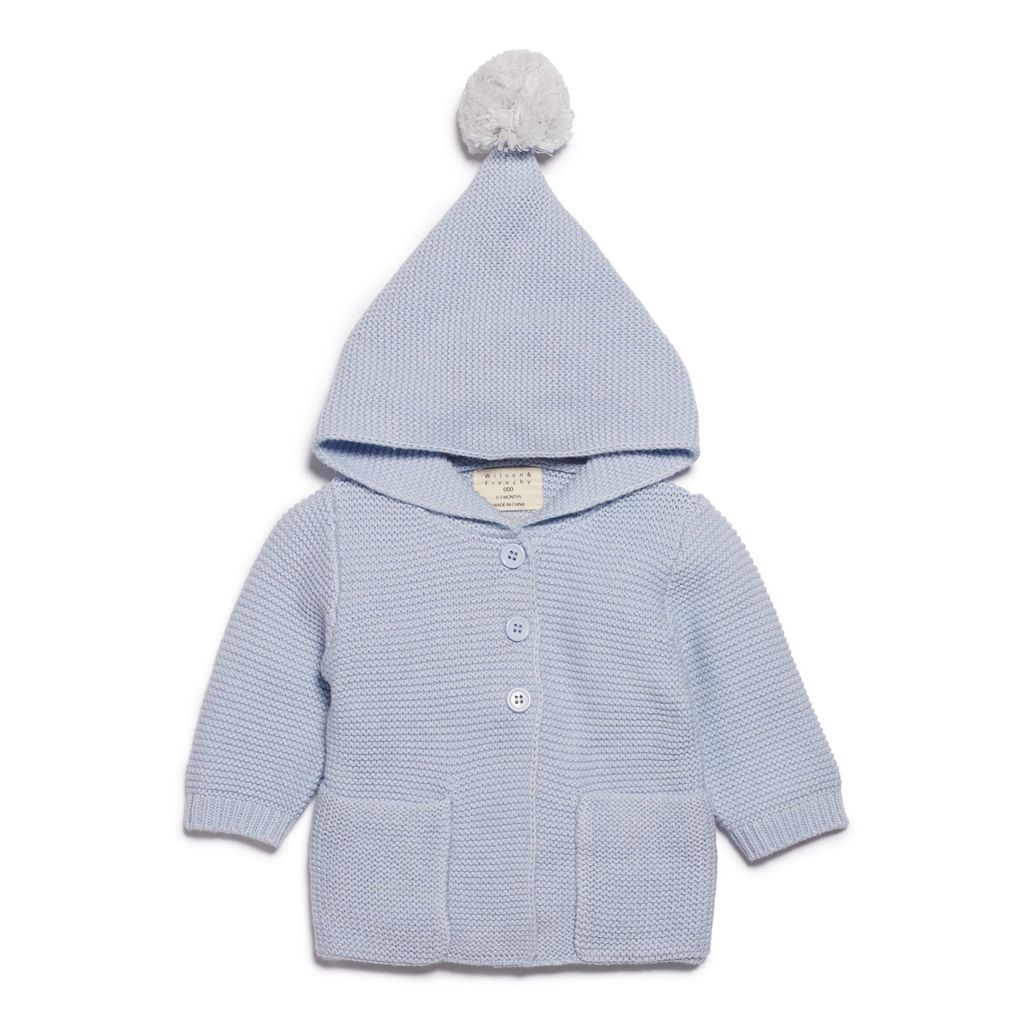 Australia CASHMERE BLUE KNITTED JACKET WITH HOOD - 3-6 months