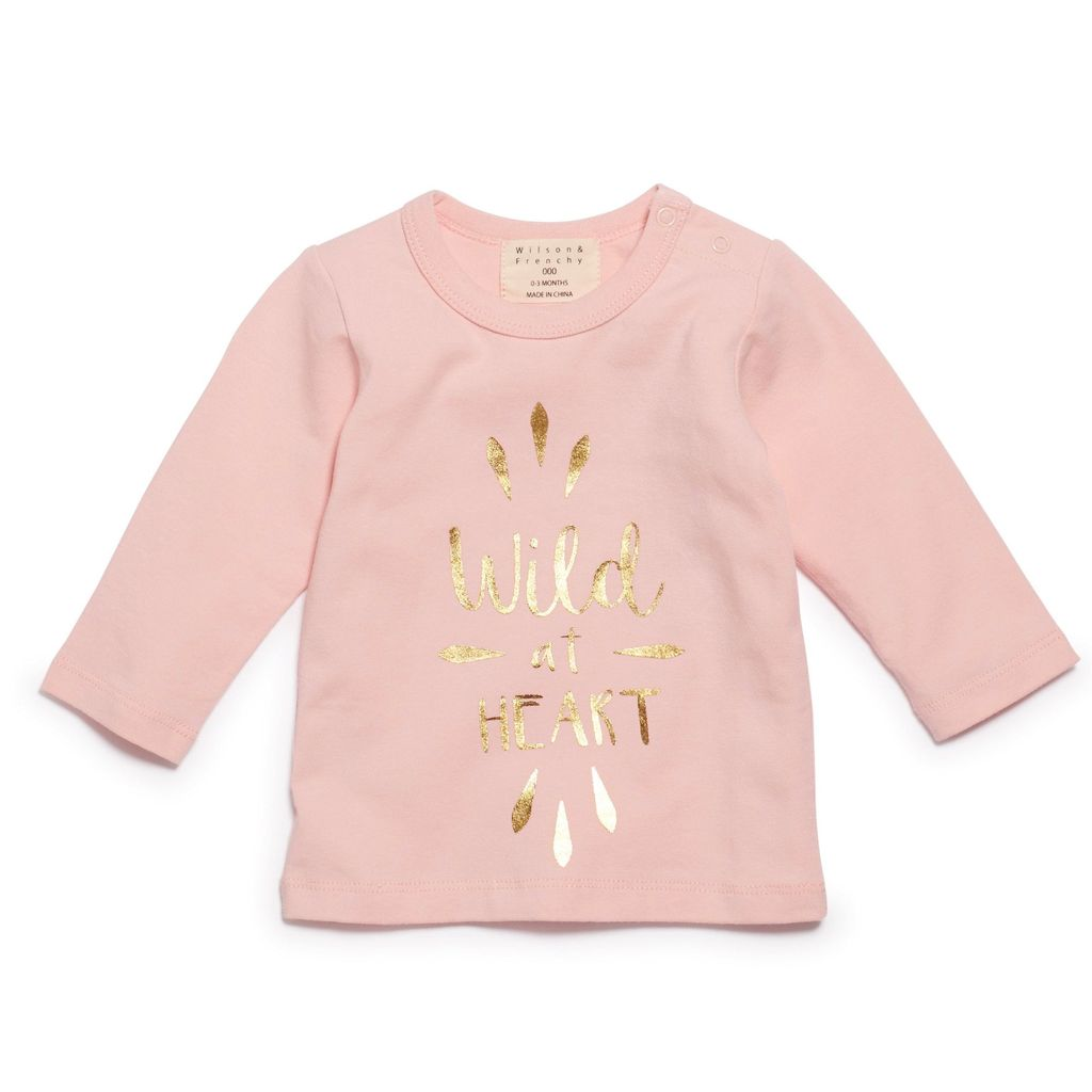 Australia WILD AT HEART LONG SLEEVE TOP PINK - 12-18 months