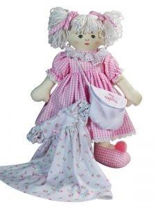 Australia Mary Anne 39cm Asleep/Awake Doll Blond - Pink Seersucker Check