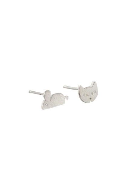 Australia Silver Cat + Mouse Studs