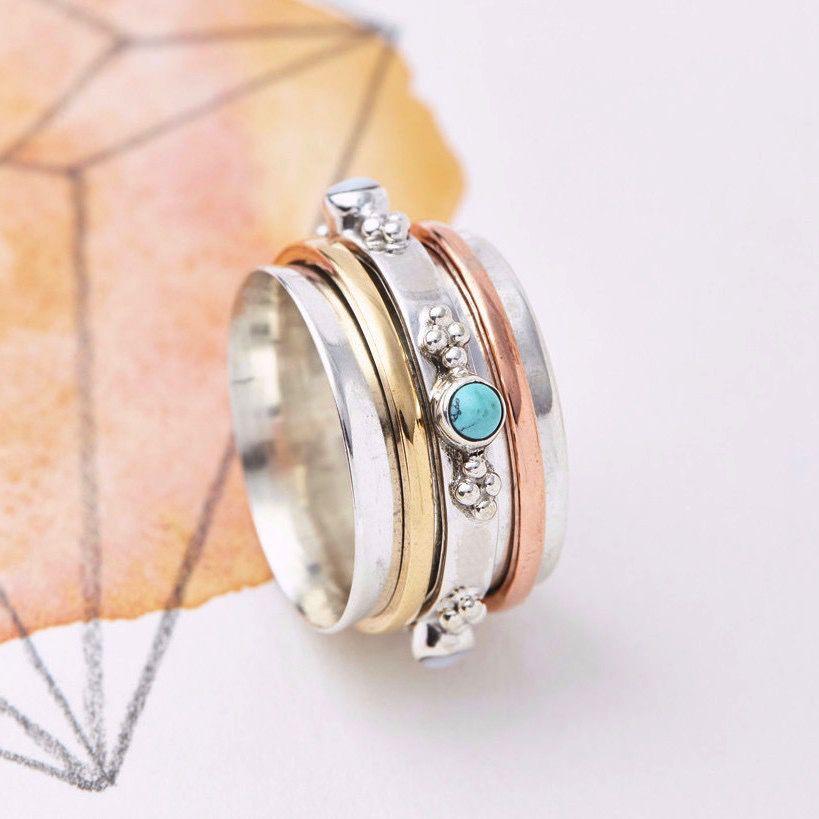 Europe Rajput Precious Stone Spinning Ring