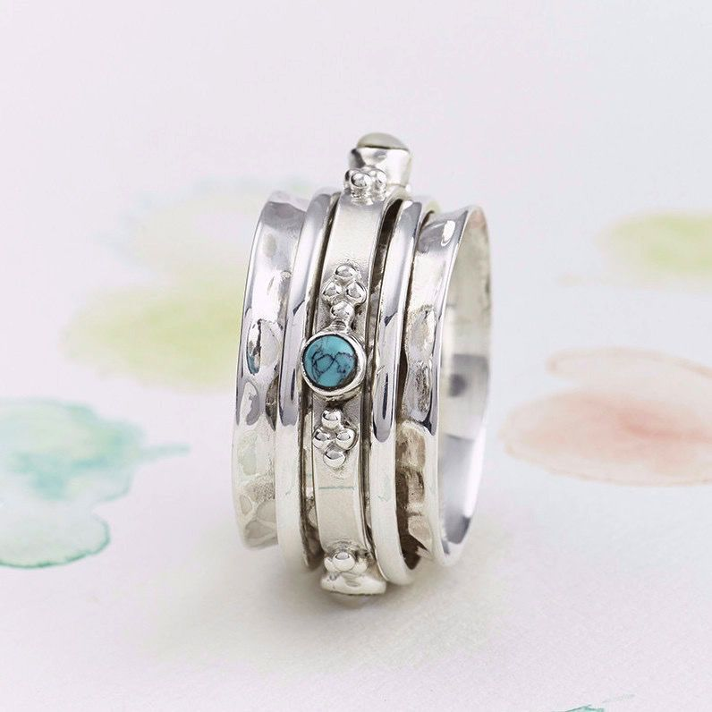Europe Rajput Precious Stone Silver Spinning Ring