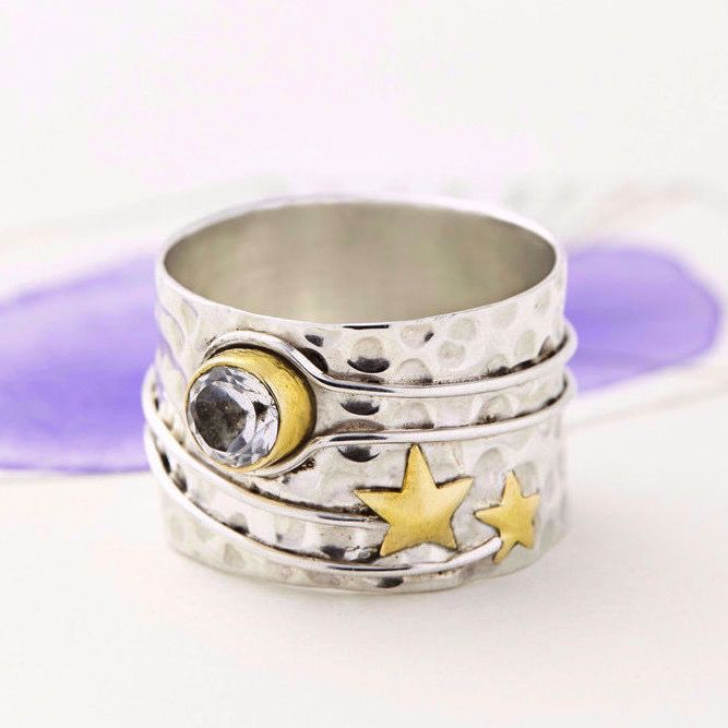 Europe Celestial Moon Silver Ring